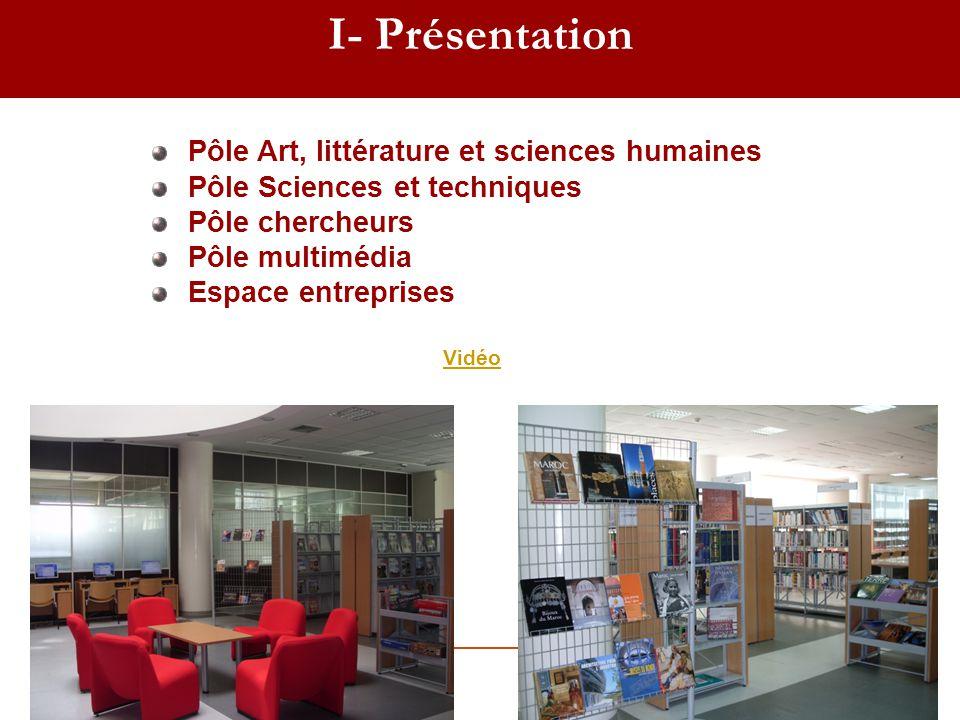 I- Présentation Pôle Art, littérature et sciences humaines Pôle Sciences et techniques Pôle chercheurs Pôle multimédia Espace entreprises Vidéo