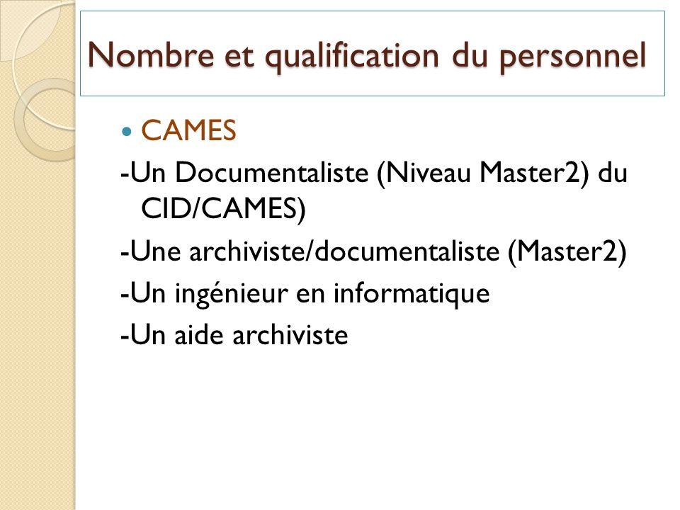 Nombre et qualification du personnel CAMES -Un Documentaliste (Niveau Master2) du CID/CAMES) -Une archiviste/documentaliste (Master2) -Un ingénieur en