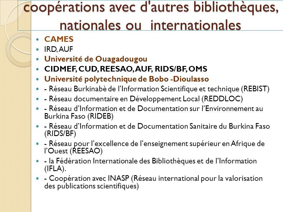 coopérations avec d'autres bibliothèques, nationales ou internationales CAMES IRD, AUF Université de Ouagadougou CIDMEF, CUD, REESAO, AUF, RIDS/BF, OM