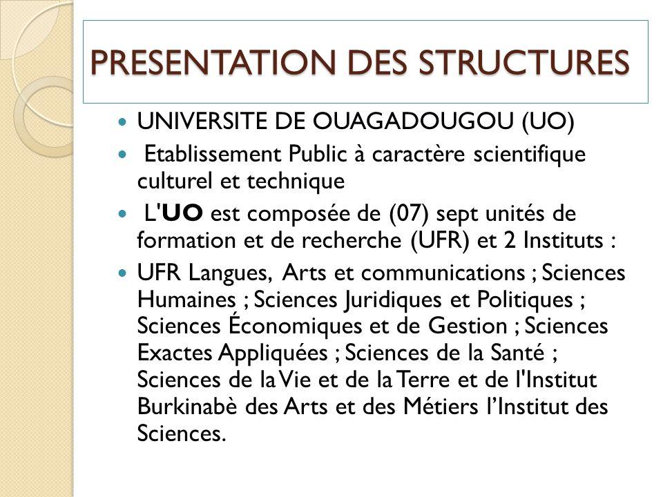 PRESENTATION DES STRUCTURES UNIVERSITE DE OUAGADOUGOU (UO) Etablissement Public à caractère scientifique culturel et technique L'UO est composée de (0