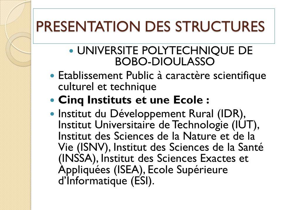 PRESENTATION DES STRUCTURES UNIVERSITE POLYTECHNIQUE DE BOBO-DIOULASSO Etablissement Public à caractère scientifique culturel et technique Cinq Instit