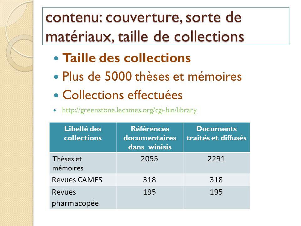 contenu: couverture, sorte de matériaux, taille de collections Taille des collections Plus de 5000 thèses et mémoires Collections effectuées http://gr