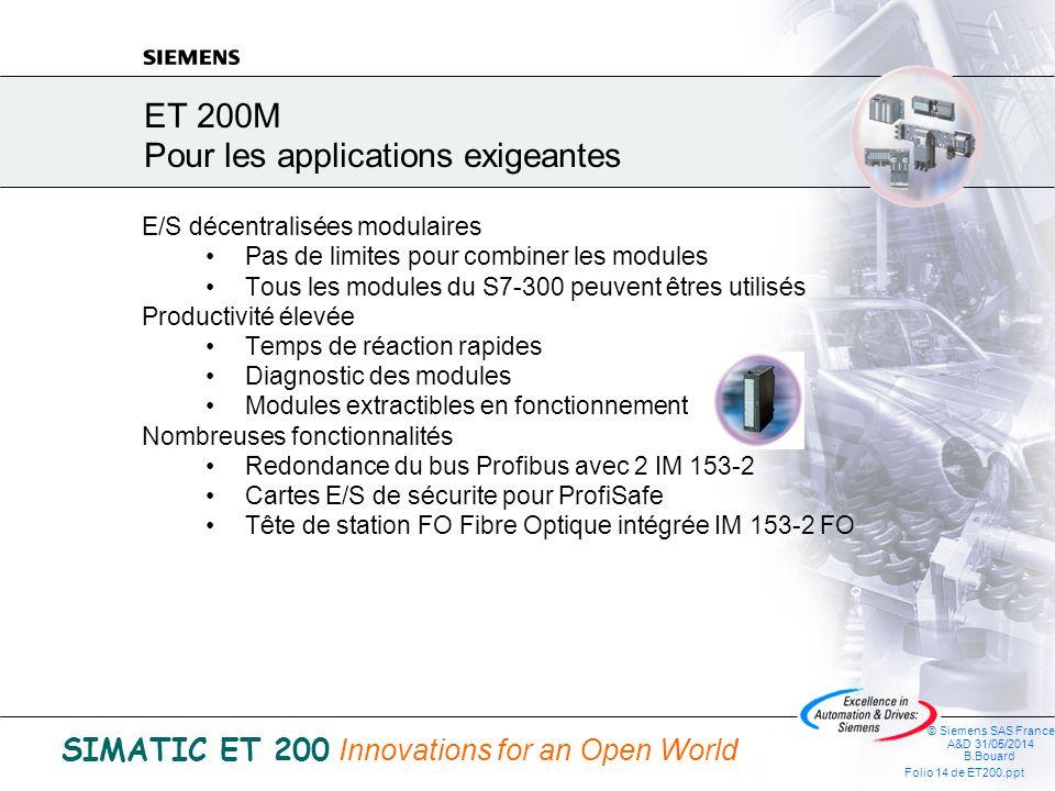 © Siemens SAS France A&D 31/05/2014 B.Bouard Folio 13 de ET200.ppt SIMATIC ET 200 Innovations for an Open World Entrées / sorties décentralisées ET 200M