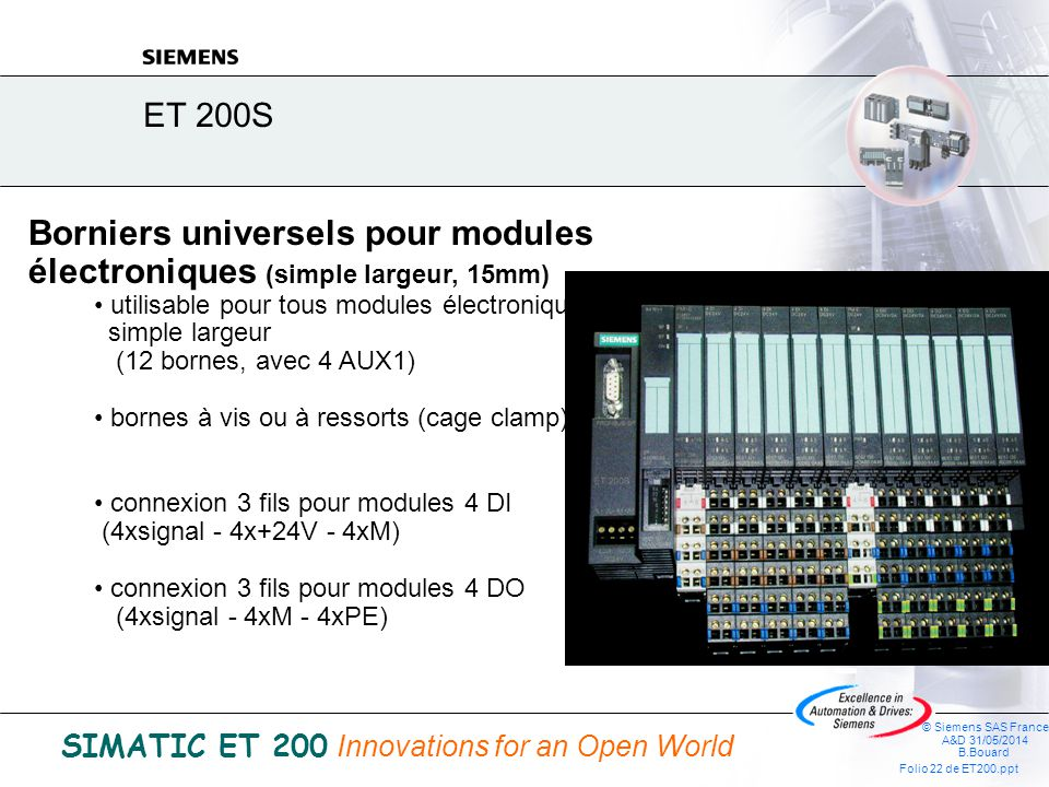 © Siemens SAS France A&D 31/05/2014 B.Bouard Folio 21 de ET200.ppt SIMATIC ET 200 Innovations for an Open World ET 200S Module électronique et bornier
