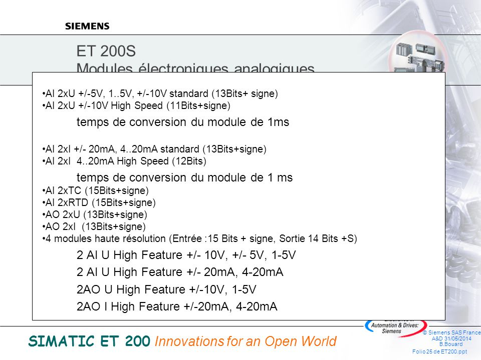 © Siemens SAS France A&D 31/05/2014 B.Bouard Folio 24 de ET200.ppt SIMATIC ET 200 Innovations for an Open World Modules TOR DI 2xDC 24V standard DI 4x