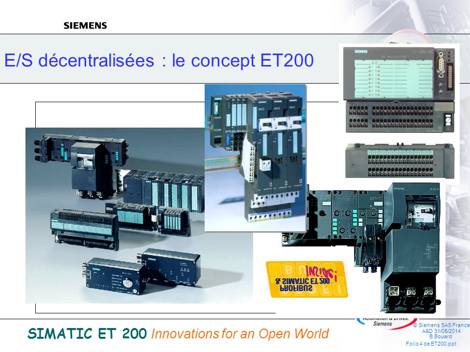 © Siemens SAS France A&D 31/05/2014 B.Bouard Folio 24 de ET200.ppt SIMATIC ET 200 Innovations for an Open World Modules TOR DI 2xDC 24V standard DI 4xDC 24V standard DI 2xDC 24V étendu LED rouge derreur system fault (SF) temps de filtrage dentrée réglable Diagnostic de court-circuit de lalimentation IEC 1131, Type 2 DI 4xDC 24V étendu LED rouge derreur system fault (SF) temps de filtrage dentrée réglable Diagnostic de court-circuit de lalimentation IEC 1131, Type 2 DI 2xAC 120V DI 2xAC 240V ET 200S Modules électroniques DO 2xDC 24V 0,5A standard DO 4xDC 24V 0,5A standard DO 4xDC 24V 2A standard DO 2xDC 24V 0,5A étendu LED rouge derreur system fault (SF) conservation de la dernière valeur Diagnostic de court-circuit / rupture de fil DO 2xDC 24V 2A étendu LED rouge derreur system fault (SF) conservation de la dernière valeur Diagnostic de court-circuit / rupture de fil DO 2x120/230 VAC DO 2xDC/AC Relais 5A conservation de la dernière valeur