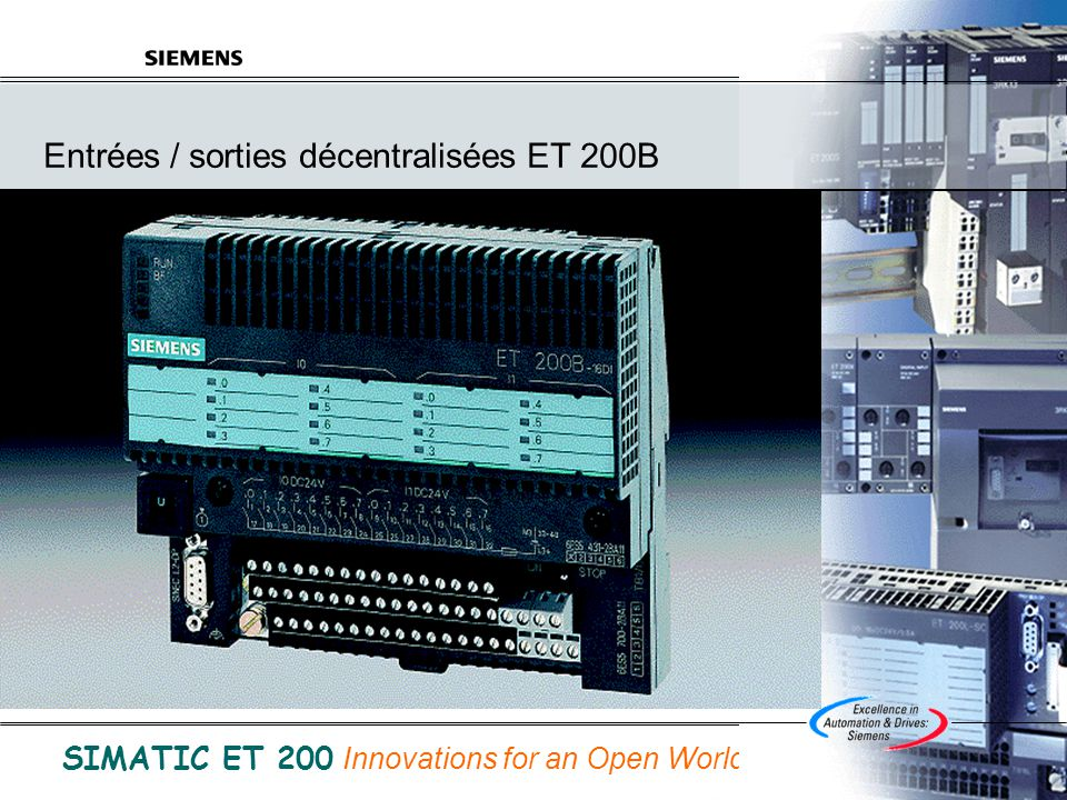 © Siemens SAS France A&D 31/05/2014 B.Bouard Folio 25 de ET200.ppt SIMATIC ET 200 Innovations for an Open World ET 200S Modules électroniques analogiques AI 2xU +/-5V, 1..5V, +/-10V standard (13Bits+ signe) AI 2xU +/-10V High Speed (11Bits+signe) temps de conversion du module de 1ms AI 2xI +/- 20mA, 4..20mA standard (13Bits+signe) AI 2xI 4..20mA High Speed (12Bits) temps de conversion du module de 1 ms AI 2xTC (15Bits+signe) AI 2xRTD (15Bits+signe) AO 2xU (13Bits+signe) AO 2xI (13Bits+signe) 4 modules haute résolution (Entrée :15 Bits + signe, Sortie 14 Bits +S) 2 AI U High Feature +/- 10V, +/- 5V, 1-5V 2 AI U High Feature +/- 20mA, 4-20mA 2AO U High Feature +/-10V, 1-5V 2AO I High Feature +/-20mA, 4-20mA