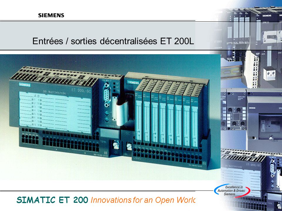 © Siemens SAS France A&D 31/05/2014 B.Bouard Folio 18 de ET200.ppt SIMATIC ET 200 Innovations for an Open World Totally Integrated Automation SIMATIC ET 200S Une nouvelle ère de la décentralisation