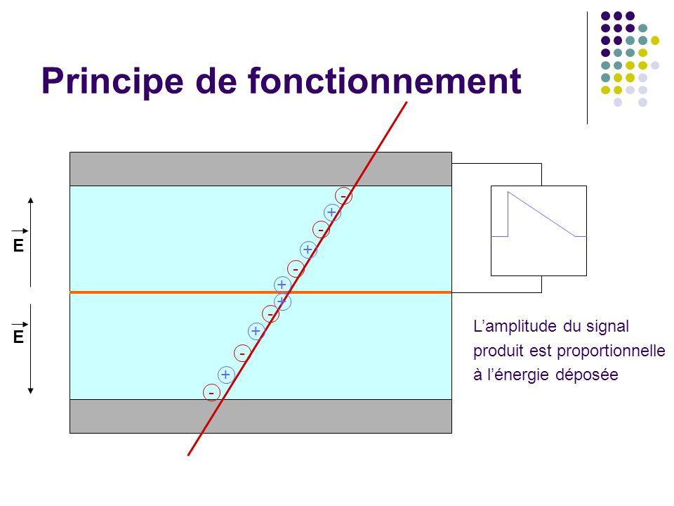 Principe de fonctionnement - - - - - - + + + + + + E E Lamplitude du signal produit est proportionnelle à lénergie déposée