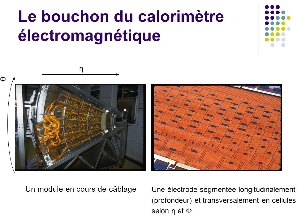 Le bouchon du calorimètre électromagnétique Un module en cours de câblage η Φ Une électrode segmentée longitudinalement (profondeur) et transversaleme