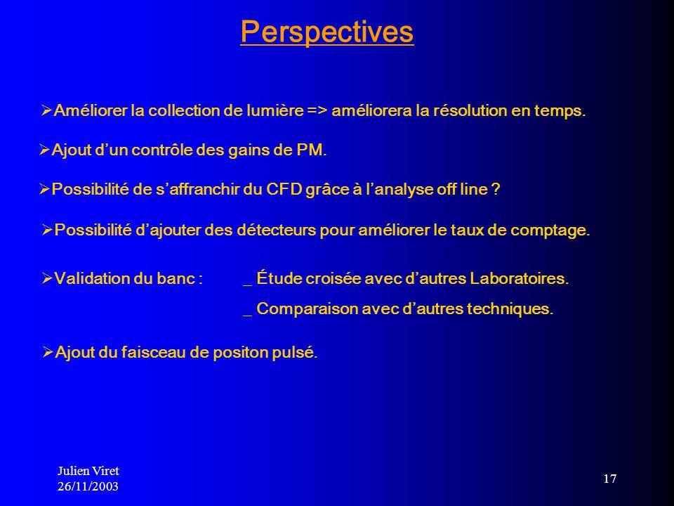 Julien Viret 26/11/2003 17 Ajout du faisceau de positon pulsé. Améliorer la collection de lumière => améliorera la résolution en temps. Ajout dun cont