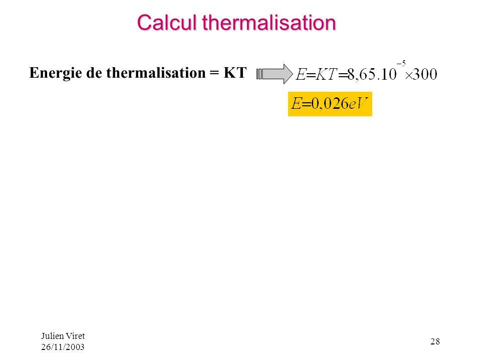 Julien Viret 26/11/2003 28 Energie de thermalisation = KT Calcul thermalisation