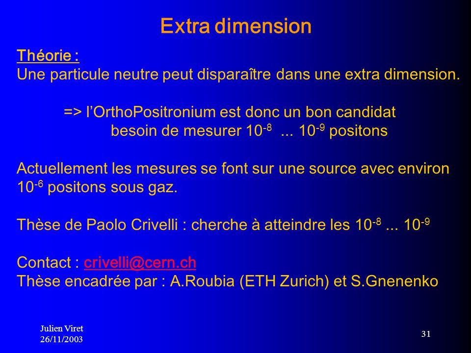 Julien Viret 26/11/2003 31 Théorie : Une particule neutre peut disparaître dans une extra dimension. => lOrthoPositronium est donc un bon candidat bes