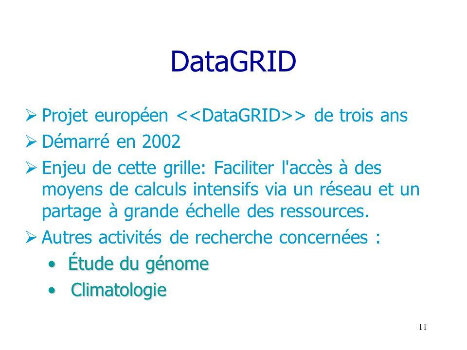 10 Parmis les projets de grille : le projet de R&D DataGRID