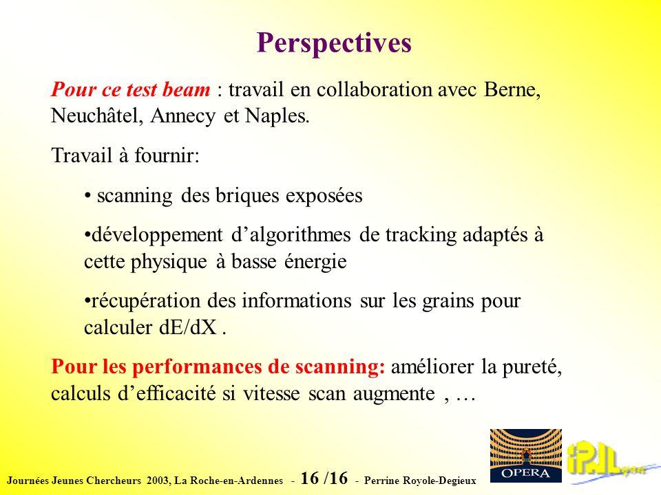 Journées Jeunes Chercheurs 2003, La Roche-en-Ardennes - 16 /16 - Perrine Royole-Degieux Perspectives Pour ce test beam : travail en collaboration avec Berne, Neuchâtel, Annecy et Naples.