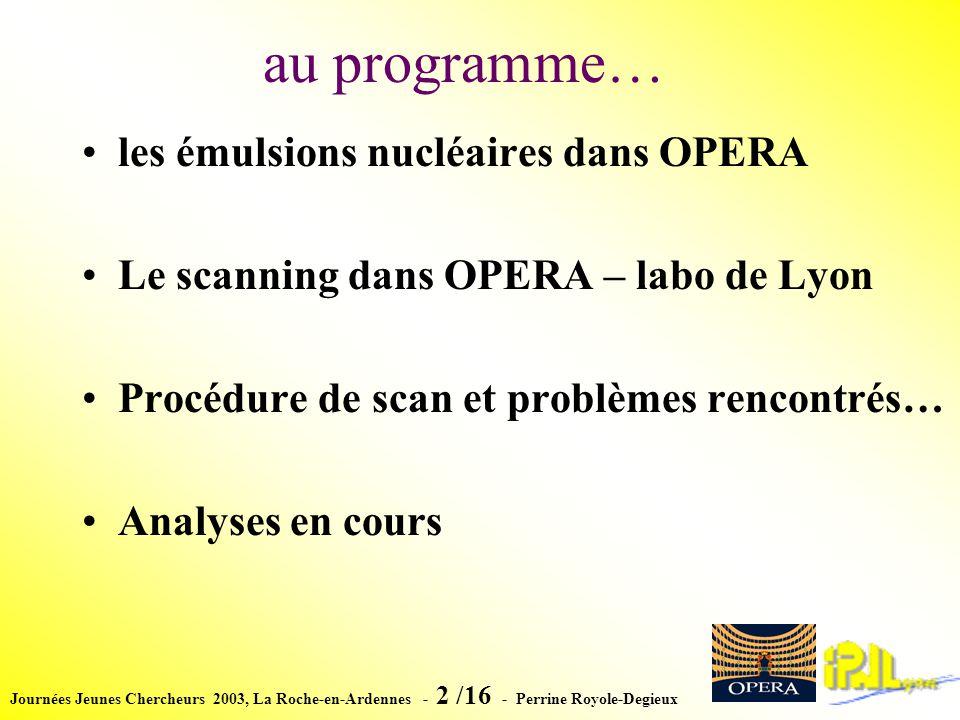 Journées Jeunes Chercheurs 2003, La Roche-en-Ardennes - 13 /16 - Perrine Royole-Degieux Calculs de lefficacité de scanning Réalisation dun test beam en Juin 2003 Exposition à des pions de 8 GeV.