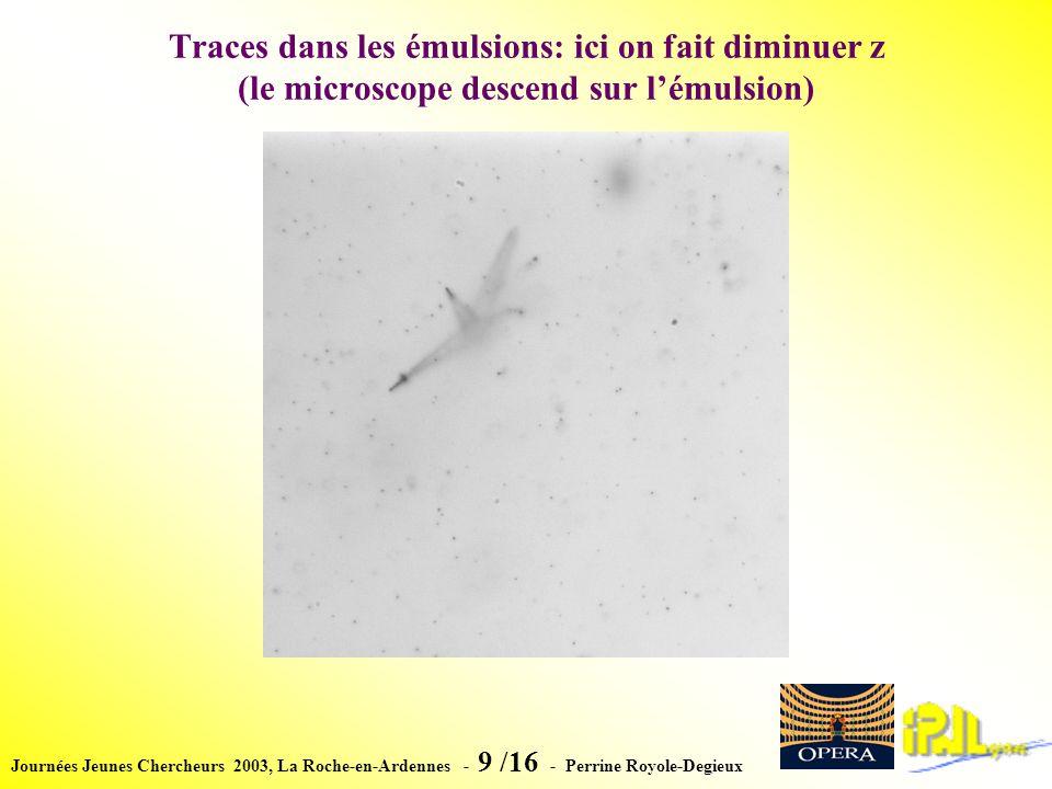 Journées Jeunes Chercheurs 2003, La Roche-en-Ardennes - 9 /16 - Perrine Royole-Degieux Traces dans les émulsions: ici on fait diminuer z (le microscope descend sur lémulsion)