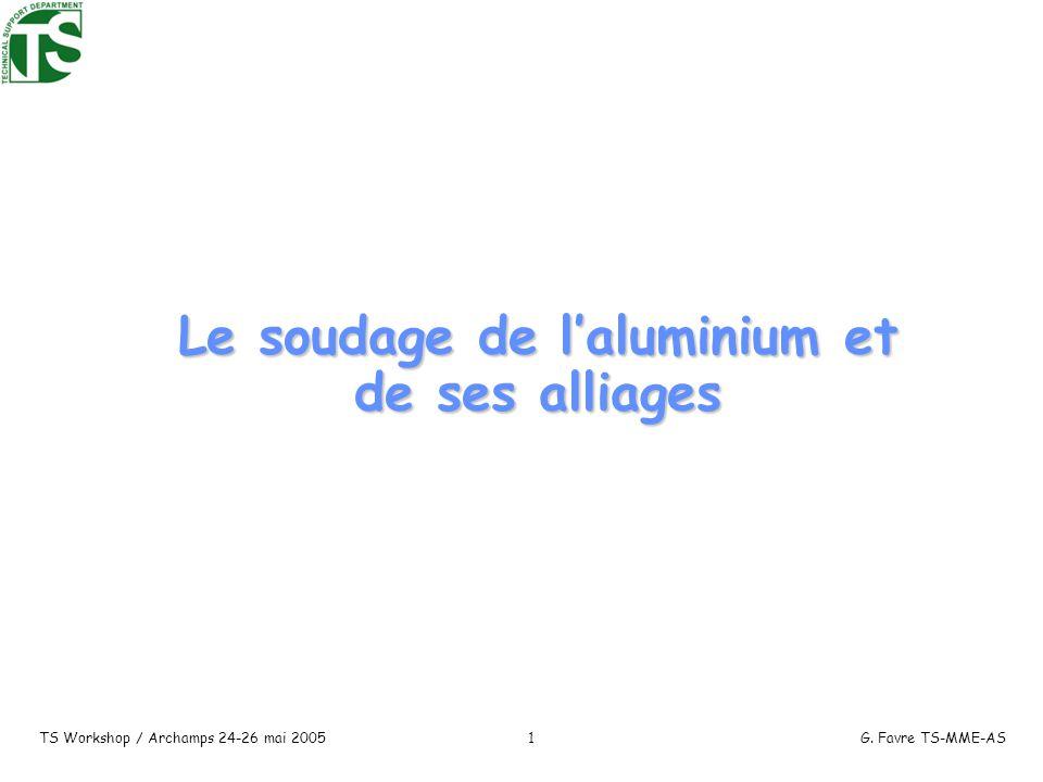 TS Workshop / Archamps 24-26 mai 2005G. Favre TS-MME-AS1 Le soudage de laluminium et de ses alliages