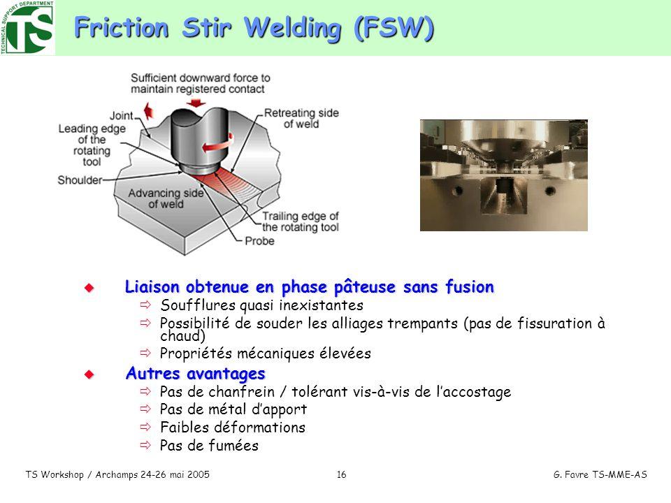 TS Workshop / Archamps 24-26 mai 2005G. Favre TS-MME-AS16 Friction Stir Welding (FSW) Liaison obtenue en phase pâteuse sans fusion Liaison obtenue en