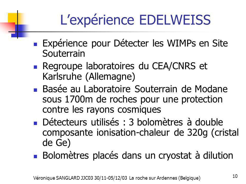 Véronique SANGLARD JJC03 30/11-05/12/03 La roche sur Ardennes (Belgique) 10 Lexpérience EDELWEISS Expérience pour Détecter les WIMPs en Site Souterrai