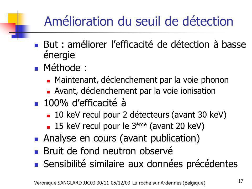 Véronique SANGLARD JJC03 30/11-05/12/03 La roche sur Ardennes (Belgique) 17 Amélioration du seuil de détection But : améliorer lefficacité de détectio