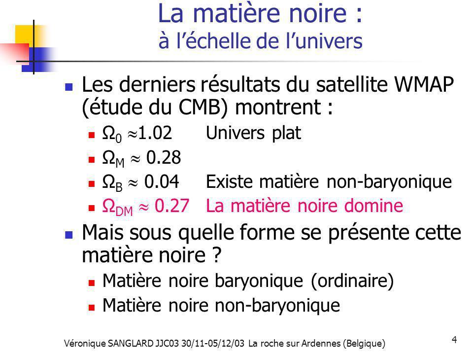 Véronique SANGLARD JJC03 30/11-05/12/03 La roche sur Ardennes (Belgique) 4 La matière noire : à léchelle de lunivers Les derniers résultats du satelli