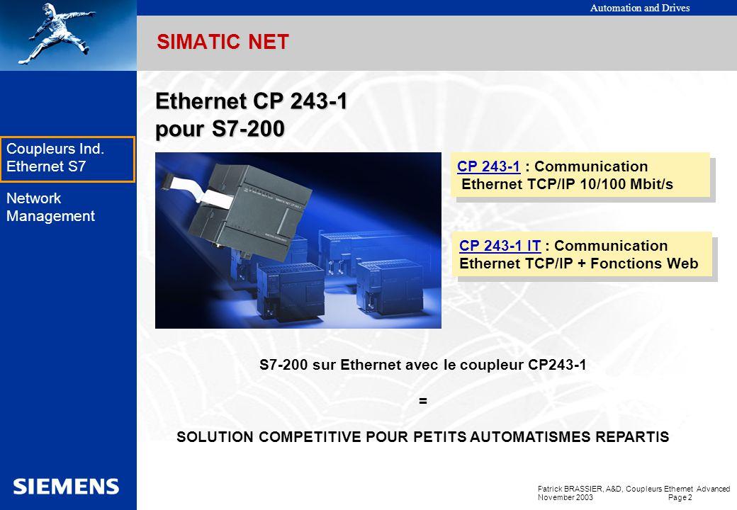 Automation and Drives Patrick BRASSIER, A&D, Coupleurs Ethernet Advanced November 2003 Page 1 EK Coupleurs Ind. Ethernet S7 Network Management Coupleu