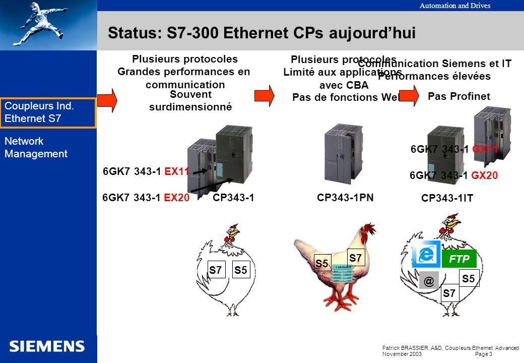Automation and Drives Patrick BRASSIER, A&D, Coupleurs Ethernet Advanced November 2003 Page 3 EK Coupleurs Ind.