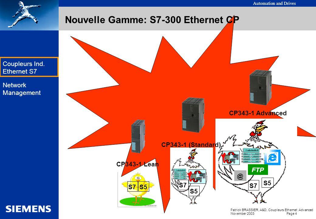 Automation and Drives Patrick BRASSIER, A&D, Coupleurs Ethernet Advanced November 2003 Page 3 EK Coupleurs Ind. Ethernet S7 Network Management Status: