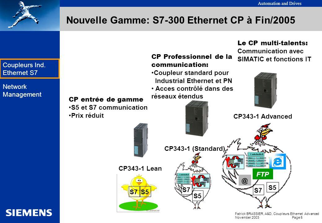 Automation and Drives Patrick BRASSIER, A&D, Coupleurs Ethernet Advanced November 2003 Page 5 EK Coupleurs Ind.