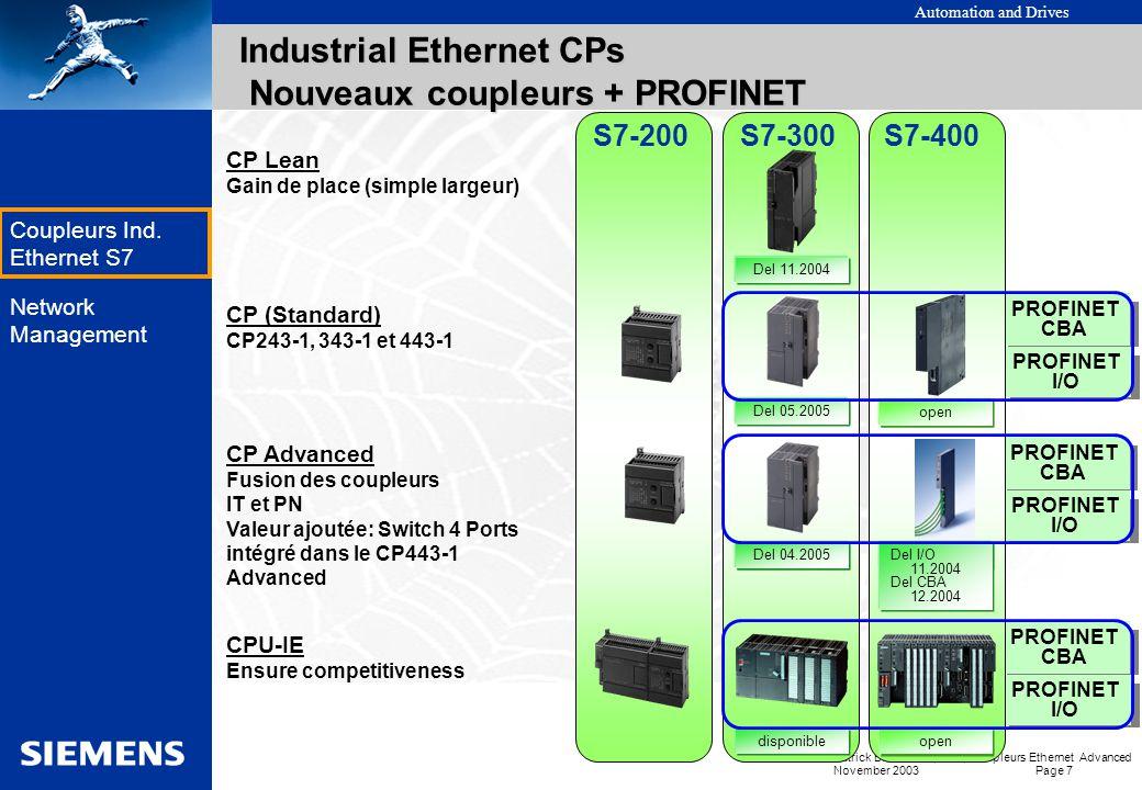 Automation and Drives Patrick BRASSIER, A&D, Coupleurs Ethernet Advanced November 2003 Page 6 EK Coupleurs Ind. Ethernet S7 Network Management Industr