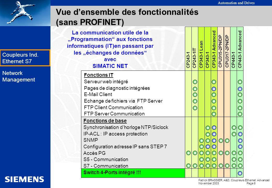 Automation and Drives Patrick BRASSIER, A&D, Coupleurs Ethernet Advanced November 2003 Page 7 EK Coupleurs Ind. Ethernet S7 Network Management PROFINE