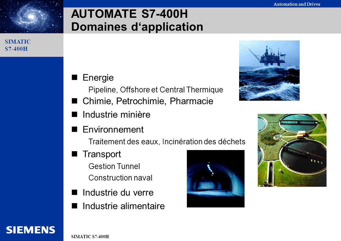 Automation and Drives SIMATIC S7-400H SIMATIC S7-400H Entrées/Sorties monovoie, commutée Système Redondant (H) 2 châssis Station décentralisée commutée Fibre optique EntréesSorties