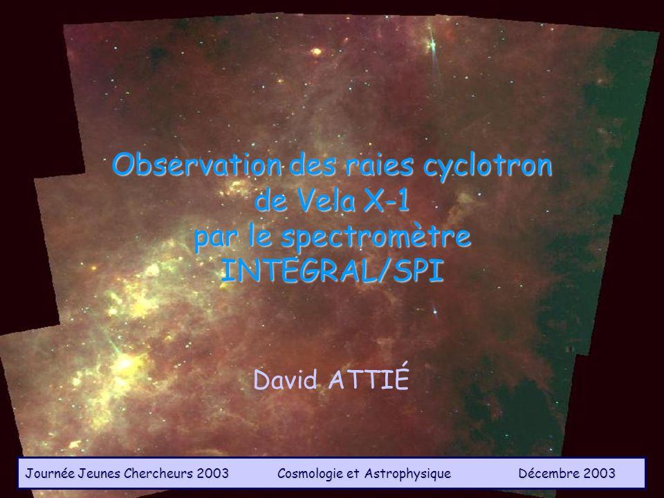 D.Attie@cea.frObservations de Vela X-1 par SPI / JJC 20032 Sommaire Présentation du spectromètre SPI Caractéristiques de la source Vela X-1 Contraintes sur les modèles géométriques et physiques Etalonnage du spectromètre Observations de Vela X-1 par SPI - analyse spectrale - analyse temporelle Conclusions