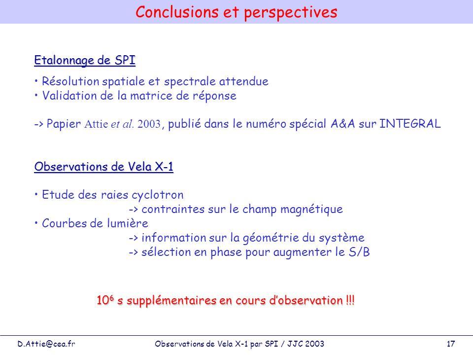 D.Attie@cea.frObservations de Vela X-1 par SPI / JJC 200317 Etalonnage de SPI Résolution spatiale et spectrale attendue Validation de la matrice de ré