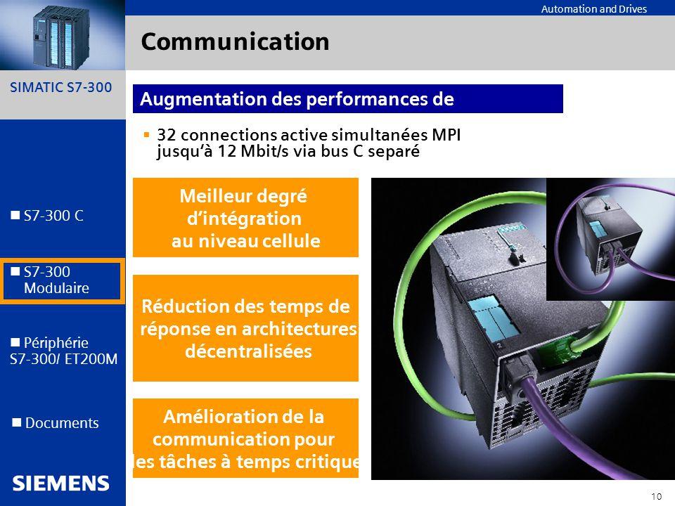 SIMATIC S7-300 10 Automation and Drives S7-300 C S7-300 Modulaire S7-300 Modulaire Périphérie S7-300/ ET200M Documents Communication 32 connections ac