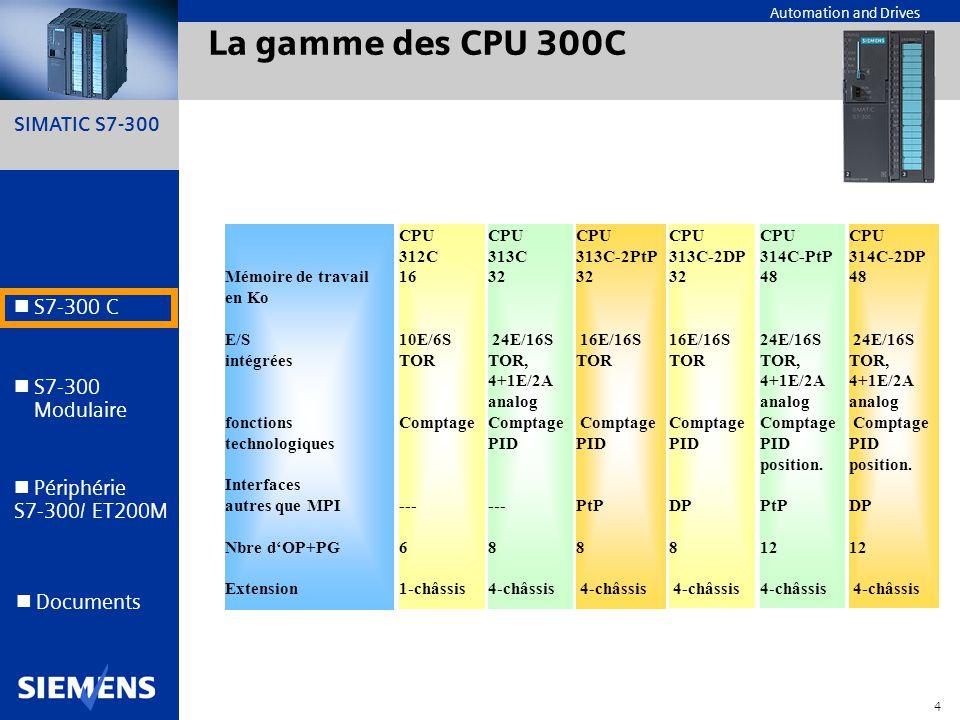 SIMATIC S7-300 4 Automation and Drives S7-300 C S7-300 Modulaire S7-300 Modulaire Périphérie S7-300/ ET200M Documents La gamme des CPU 300C Mémoire de