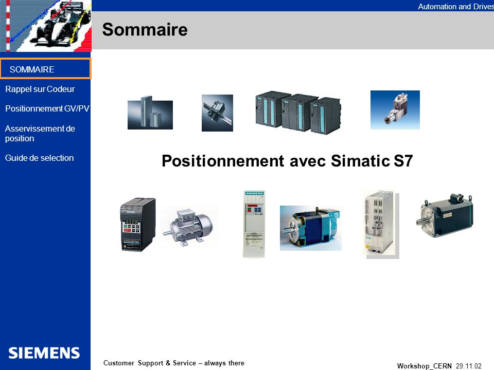 Automation and Drives Workshop_CERN 29.11.02 1 Customer Support & Service – always there SOMMAIRE Rappel sur Codeur Positionnement GV/PV Asservissemen