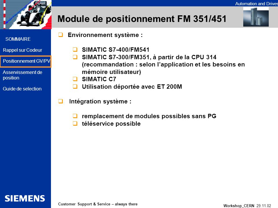 Automation and Drives Workshop_CERN 29.11.02 14 Customer Support & Service – always there SOMMAIRE Rappel sur Codeur Positionnement GV/PV Asservisseme