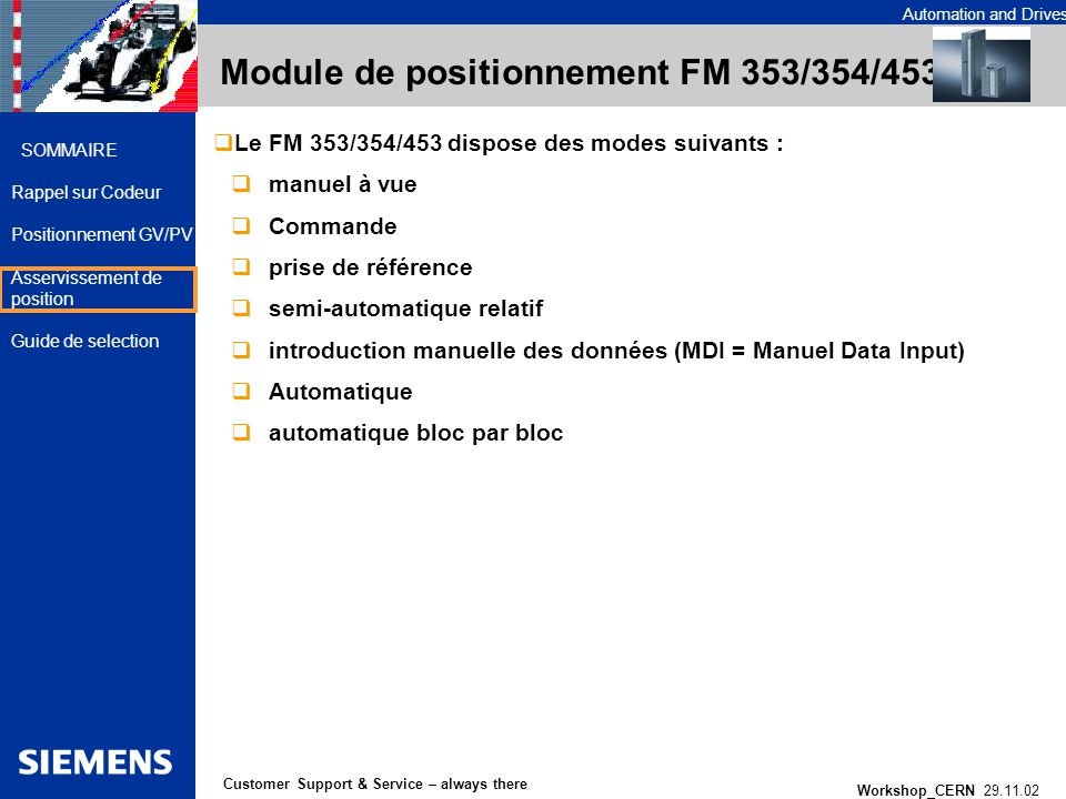 Automation and Drives Workshop_CERN 29.11.02 26 Customer Support & Service – always there SOMMAIRE Rappel sur Codeur Positionnement GV/PV Asservisseme