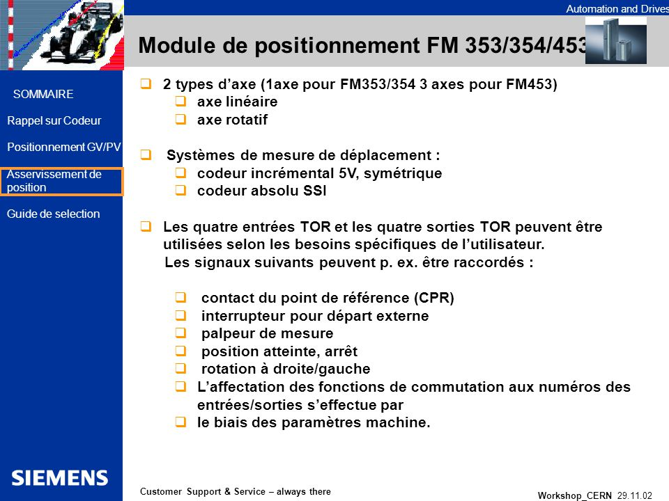 Automation and Drives Workshop_CERN 29.11.02 27 Customer Support & Service – always there SOMMAIRE Rappel sur Codeur Positionnement GV/PV Asservisseme