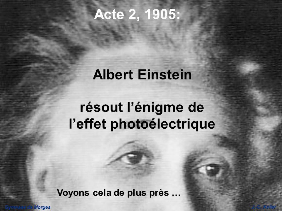 Gymnase de Morges J.-C. Keller résout lénigme de leffet photoélectrique Acte 2, 1905: Albert Einstein Voyons cela de plus près …