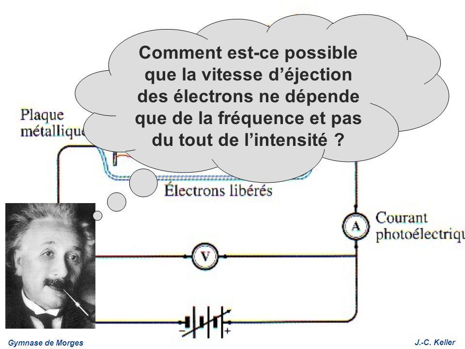 Gymnase de Morges J.-C. Keller Comment est-ce possible que la vitesse déjection des électrons ne dépende que de la fréquence et pas du tout de lintens