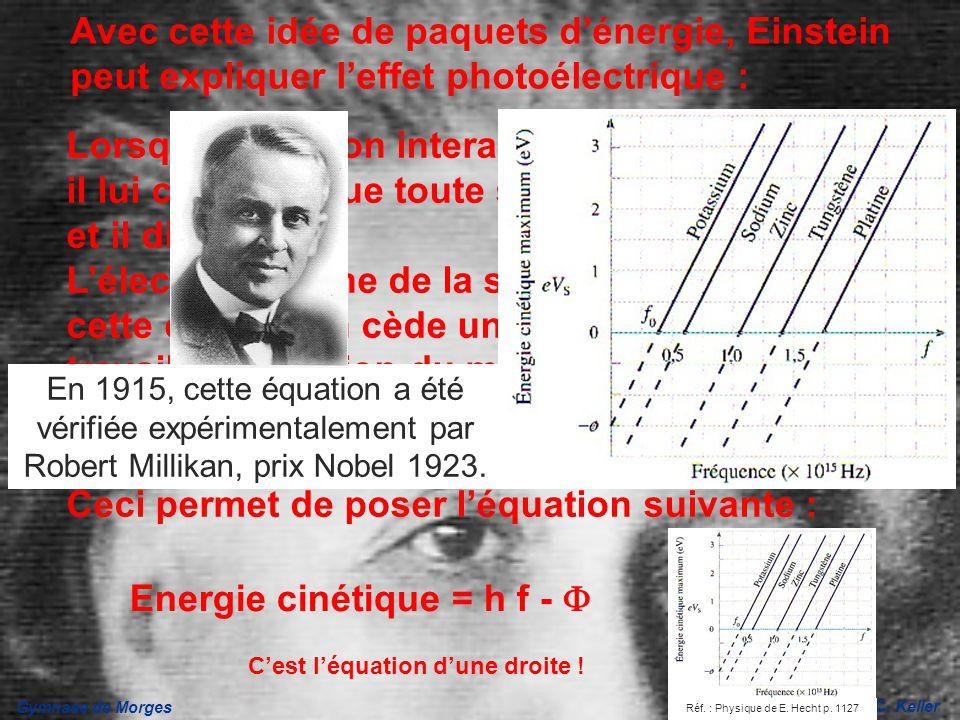 Gymnase de Morges J.-C. Keller Avec cette idée de paquets dénergie, Einstein peut expliquer leffet photoélectrique : Lorsquun photon interagit avec un