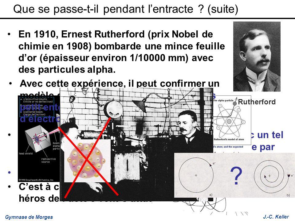 Gymnase de Morges J.-C. Keller Le problème, cest quen physique classique, avec un tel modèle, les électrons devraient perdre leur énergie par rayonnem
