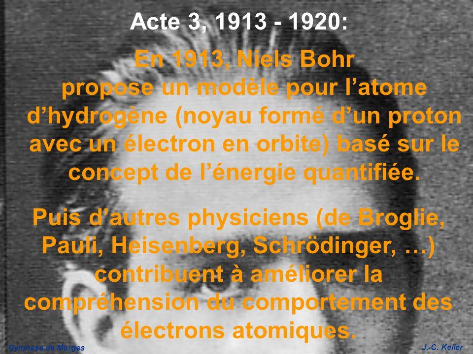 Gymnase de Morges J.-C. Keller En 1913, Niels Bohr propose un modèle pour latome dhydrogène (noyau formé dun proton avec un électron en orbite) basé s