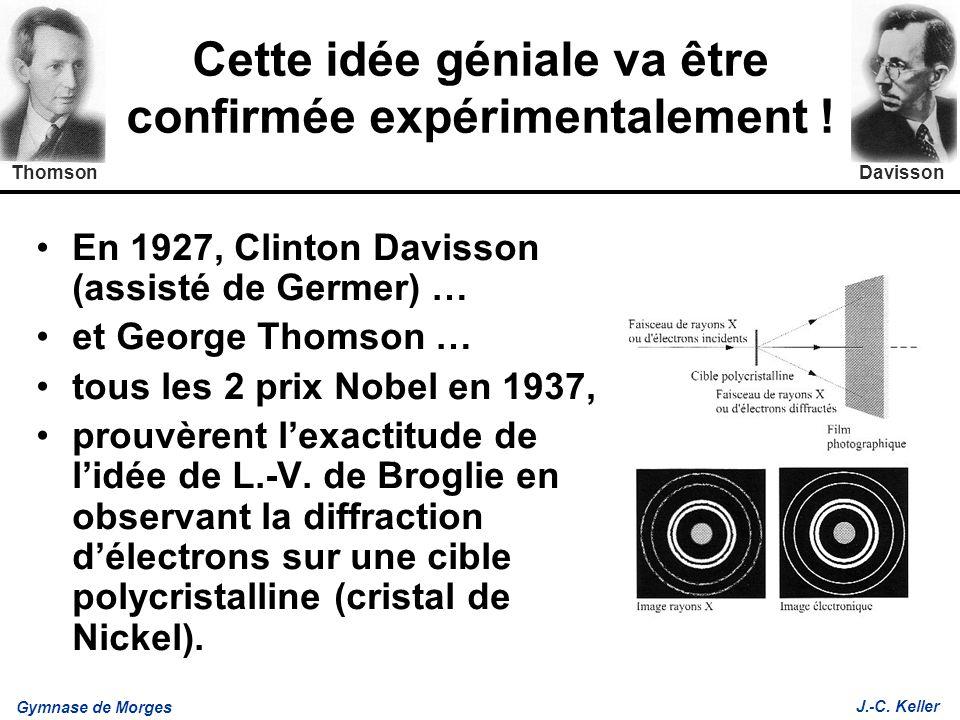Gymnase de Morges J.-C. Keller Cette idée géniale va être confirmée expérimentalement ! En 1927, Clinton Davisson (assisté de Germer) … et George Thom