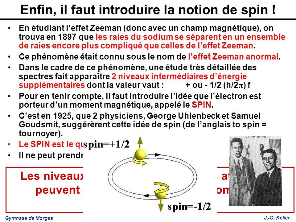 Gymnase de Morges J.-C. Keller Enfin, il faut introduire la notion de spin ! En étudiant leffet Zeeman (donc avec un champ magnétique), on trouva en 1