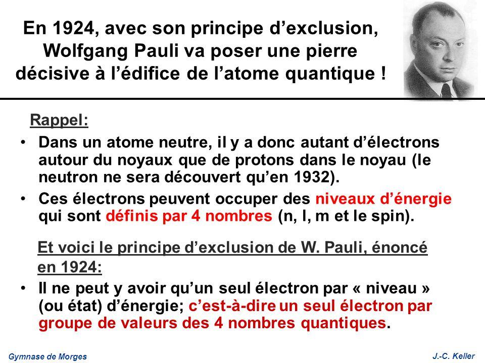 Gymnase de Morges J.-C. Keller En 1924, avec son principe dexclusion, Wolfgang Pauli va poser une pierre décisive à lédifice de latome quantique ! Dan