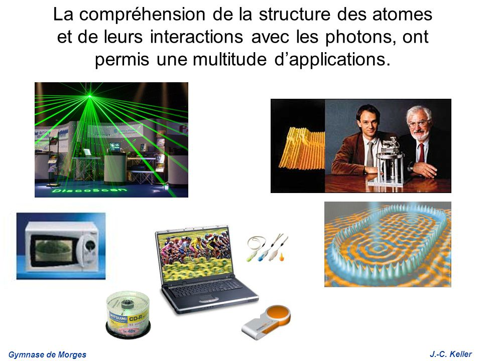 Gymnase de Morges J.-C. Keller La compréhension de la structure des atomes et de leurs interactions avec les photons, ont permis une multitude dapplic